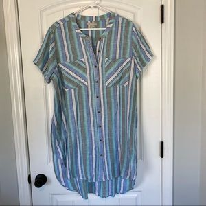 Woman Within Blue/Gray Striped Linen Cover up
